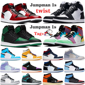 New High 1 1s Jumpman mens basketball shoes twist mid Chicago Royal toe OG TOKYO UNC Patent triple white men women sport sneakers