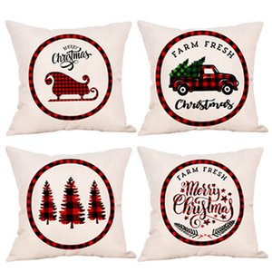 Wholesale european pillows for sale - Group buy Christmas Pillowcase Truck Christmas Tree Holding Pillow Cover Linen Cartoon Cushion Covers European Embroidered Pillow Cases IIA701