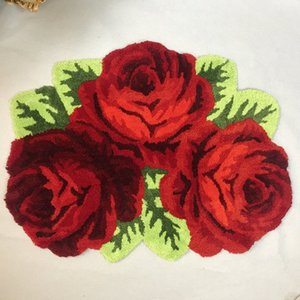 Wholesale high quality bath rugs resale online - Hot sales high quality slitless rose art rug bedroom bedside mat red flower carpet bedside rug parlor livingroom bath mats nnUq