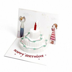Wholesale funny birthday cards for sale - Group buy Funny DIY Craft Birthday Card Greeting Handmade Cute Up Postcard Modern Style Color Printing Candle Cake D With Envelope slYN