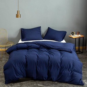 Bonenjoy 1 pc Duvet Cover Set Blue Solid Color Microfiber housse de couette Single Queen King dekbedovertrek LJ201015