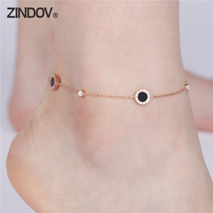Wholesale anklets bracelet for sale - Group buy ZINDOV Foot Anklet Bracelets For Women Gold Flower Crystal Charms Summer Beach Bracelets Stainless Steel Rose Gold Leg Jewelry
