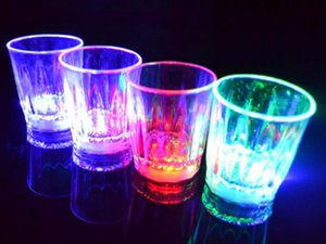 Wholesale bar lights wine glasses resale online - LED Flashing Glowing Cup Water Liquid Activated Light up Wine Beer Glass Mug Luminous Party Bar Drink cup Christmas Party Decoration
