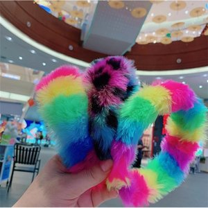 Wholesale fuzzy hair resale online - Women Plush Fuzzy Headbands Gilrs Fur Hairbands Rainbow Color Hair Bands Hair Accessories New Year Chirstmas Party Jewelry Headband E122103