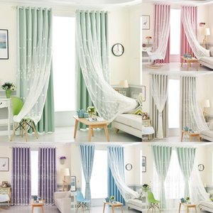 Wholesale room darkening curtains resale online - Korean Double Blackout Curtain with Embroidered Sheer Piece Living Room Bedroom Window Decoration Elegant Darkening Drapes LJ201224