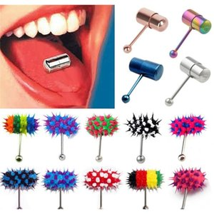 Wholesale vibrate rings for sale - Group buy Modrsa piece Hip Hop Rubber Vibrating Tongue Ring mm Stainless Steel Barbell Tongue Piercing Punk Unisex Body Jewelry F wmtmGx