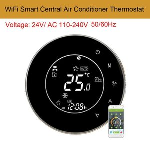 Wholesale central air conditioners resale online - AC110 V WiFi Smart Central Air Conditioner Temperature Controller LCD Backlight Touchscreen Pipe Programmable Thermostat1