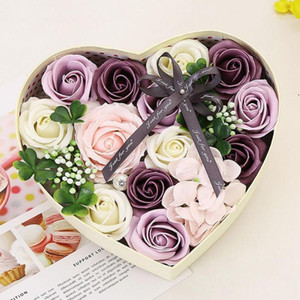 Wholesale girlfriends birthday gift rose for sale - Group buy Soap Flower Heart shaped Rose Gift Box Valentine Day Birthday Girlfriend Gift Artificial Rose Soap Scented Home Decoration1