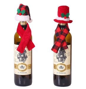 Wholesale scarf bottle for sale - Group buy Mini Christmas Santa Claus Hat and Mini Christmas Scarf set for Christmas Silverware Holders Wine Bottle Decorations KKA8138