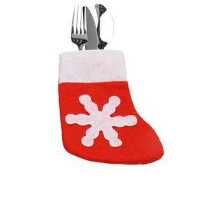 Wholesale christmas pocket knives for sale - Group buy 12pcs Christmas Stocking Mini SnowflakeCover Socks Bag Tableware Silverware Knives Forks Holders Pockets Xmas Party Home Decor
