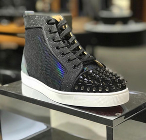 Wholesale shiny glitter leather resale online - Famous Brands Glitter Shiny Leather With Spikes Red Bottom Shoes Men s High Top Sneaker Party Wedding Red Sole Casual Walking EU35