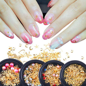 Wholesale nail art pearl stickers resale online - Mixed Style Metal Nail Art Decoration Pearl Rhinestones Nails Crystal Stones Sticker Manicure Accessories Tips Nail Tools