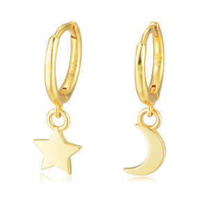 Wholesale star gold 925 resale online - Star Moon Hoop Huggie Earrings Jewelry K Yellow Gold Plated Sterling Silver For Women Party Gift