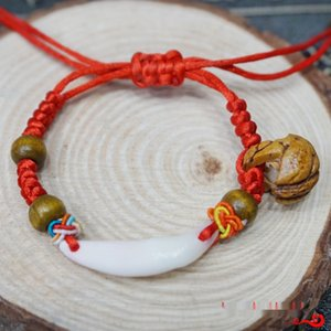 Wholesale babies bracelets gold resale online - Peach wood walnut real dog tooth diamond knot Red Rope Bracelet mother baby shop Bracelet braceletDiamond Braceletgift baby chain pig bone s