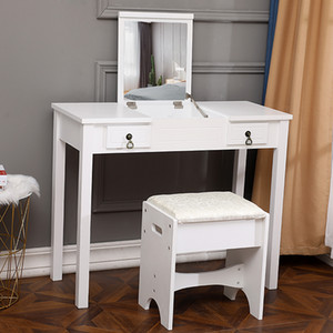 Wholesale wood dressers resale online - Stock in US UK Makeup Table with Mirror Stool Dressing Desk Foldable Dresser for Bedroom Dropshipping