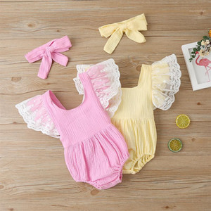 Wholesale yellow baby lace romper resale online - Fashion Sweet Baby Bodysuit Lace Solid Yellow Pink Girls Romper Outfit Triangle Short Sleeve Infant Newborn Clothes ropa1