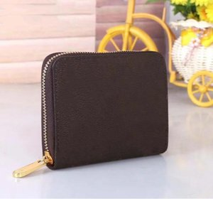 HOT!Real Leather Luxury Designers Women wallet single zipper men's wallet Fashion short purse with gift box Card Holders Fashion accessori