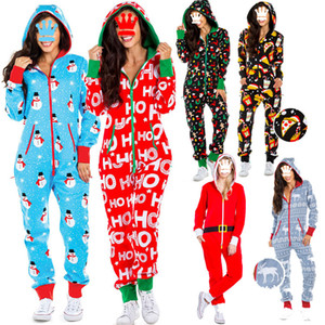 Wholesale ones pajamas resale online - SENYU Christmas pajamas one piece pajamas women autumn and winter snowman print hooded home service jumpsuit new