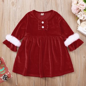 Wholesale costumes for babies for sale - Group buy Baby Girl Christmas Dress Long Sleeve Ins Red Xmas Costume Boutique Ruffle Sleeve Kid Princess Autumn Dress For Party New