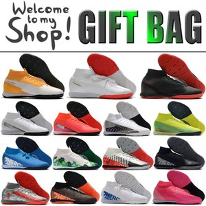 Wholesale cr7 sock football boots resale online - Mercurial Superfly VII Elite IC Indoor Soccer Football Boots Shoes Mens High Tops CR7 Ronaldo Mbappe MDS Neymar Socks Football Soccer Cleats