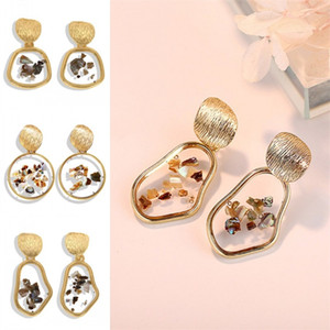 Wholesale shell tin for sale - Group buy Irregular Geometry Earrings Inlay Broken Shell Circular Alloy Ear Studs Women Transparent Gold Plated Stud Fashion Jewelry sfb L2