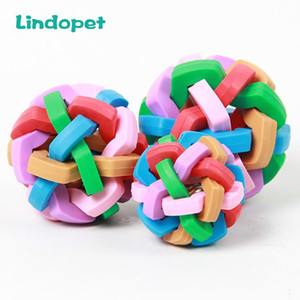 Wholesale nice toys resale online - Cute Pet Dog Toys Interactive Ball Toy Cat Toy with Small Bell Rainbow Pets Chewing Playing Fetching Nice Ba