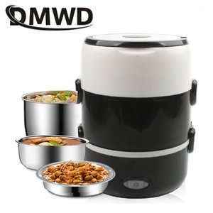 Wholesale stainless steel rice cookers resale online - DMWD Mini Electric Rice Cooker Stainless Steel Layers Steamer Portable Meal Thermal Heating Lunch Box Container Warmer1