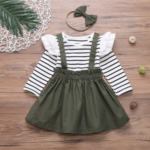 Wholesale girls lace trim resale online - 2021 new baby girls long sleeve clothing set striped tshirt lace trim with skirts and headband suit girls lovely outfits