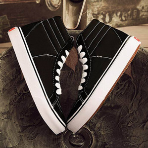 Wholesale hi shoes resale online - DORP SHIPPING Classics Black White High Skateboard Shoes Old Skool Sk8 hi Canvas Men Women Casual Flat Shoes Sneakers