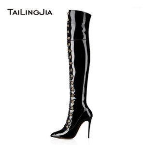ingrosso stivali a punta in pelle nera al ginocchio-Black Black Over the Knee Stivali lunghi Donne Pulsanti a punta a punta Tacco alto Botts Boots Stivali da Brevetto Ladies Shoes Winter Shoes1