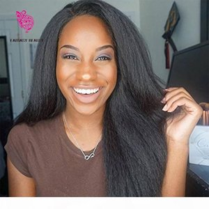Wholesale 7a italian yaki human hair resale online - 7A Brazilian Virgin Italian Yaki Lace Front Wig Human Hair Kinky Straight Glueless Full Lace Wigs with Baby Hair for Black Women