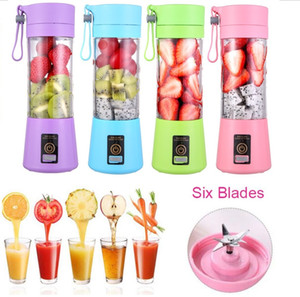 6 Blades Personal Blender Colorful Portable Mini Blender USB Juicer Cup Electric Juicer Bottle Fruit Vegetable Tools Squeezers Reamers