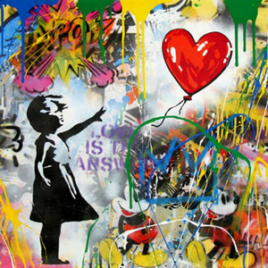 Wholesale painting girl figure resale online - Mr Brainwash Bansky Graffiti art decor Girl with Balloon Home Decor Oil Painting On Canvas Wall Art Canvas Pictures