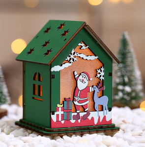 Wholesale decorative wood ornaments resale online - LED Wooden Hanging Cabin S M L Christmas Hanging Decorative Pendant Wood House Pendant Christmas Ornaments KKF1950