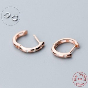 Wholesale small earrings top for sale - Group buy 925 Sterling Silver Simple Cubic Zirconia Small Hoop Earring for Women Top Quality Silver Jewelry Rose Gold