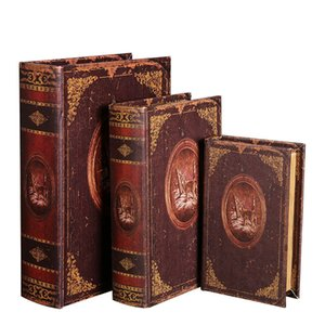 Wholesale wood vintage accessories resale online - Vintage Wood Fake Books Antique Decoration Wood Modern Art Figurine Ornament Home Decoration Accessories Desktop Ornament T200703
