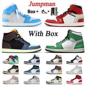 sapatas do esporte dos homens originais venda por atacado-retro off white stock x Com Mid Box Jumpman originais Womens basetball Jumpman Mens Shoes High Sorte Verde s Branco retro off Sneakers