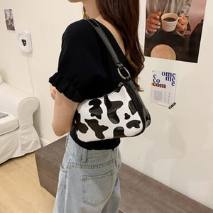 Wholesale cute vintage envelopes for sale - Group buy Cow pattern baguette bag for women fashion messenger shoulder bags designer zipper female vintage cute bag handbag and purses C0202