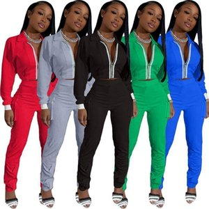 Womens 2 Piece Tracksuit Set Long Sleeve Panelled Jacket Side Pocket Trousers Outfits Ladies Casual Zipper Cardigan long pants sports Suits