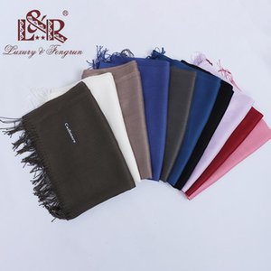 Wholesale winter head scarves women resale online - Fashion New Solid Winter Scarves For Women Shawls And Wraps Lady Pure Long Cashmere Head Scarf Men Hijabs Stoles