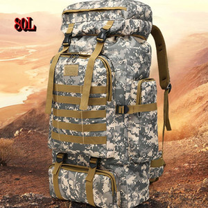 Wholesale adventure bag for sale - Group buy 80L Outdoor Large Capacity Mountaineering Bag Camouflage Tactical Backpack Suitable for Camping Hunting Adventure Tent