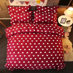 Wholesale king girl fashion resale online - 57 D Bedding Sets Girl Adult Teen Linens Red Heart Pattern Fashion Duvet Cover Pillowcase Flat Bed Sheet King Queen Size