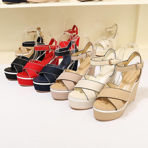 Wholesale lycra cloth resale online - Famous Ladies sandals thick Bottom Wedge Sandals fashion Ladies Ankle Strap Women Pumps Party Dress shoes with box size