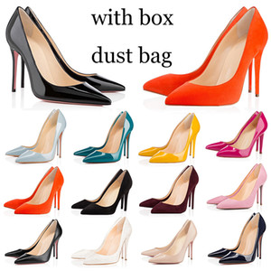 Wholesale hot women heels dresses for sale - Group buy with box dust bag red bottoms high heels bottom hot women casual shoes vintage wedding triple black pointed peep toes pumps spikes Dress