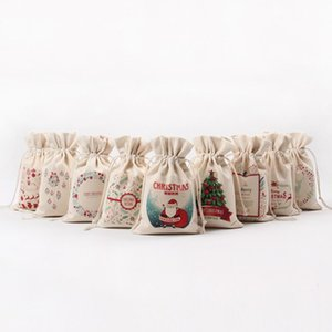 Wholesale handmade cloth bags resale online - Hot sale Christmas Gift Bag Pure Cotton Handmade Canvas Drawstring Sack Bags Candy wrapped gift bag BWB1423