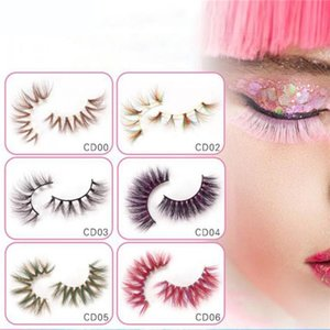 Wholesale stage makeup eyes for sale - Group buy Colorful D Mink Eyelashes Makeup Thick Eye Lashes Cross Natural Long False Eyelashes Stage Show Fake Eyelash with packaging box CPA2625