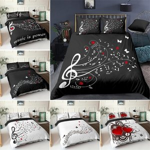 Wholesale crib set music for sale - Group buy 3D Digital Duvet Cover Music Note Printed Bedding Set Beating Comforter Cover Kids Adult Bedding Set for Winter US EU AU Size