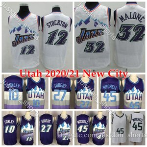 Mens Utah Basketball Jerseys Donovan Mitchell 45 Rudy Gobert 27 Mike Conley 10 John Stockton 12 Karl Malone 32 Retro Basketball Shirts S-XXL
