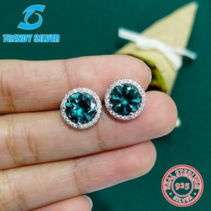 Wholesale earring stub for sale - Group buy round cubic zircon stub earrings with stones for woman girl sterling silver jewelry valentine s