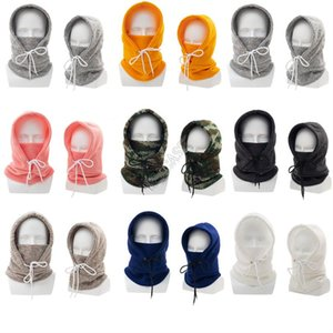 Wholesale hood with face mask resale online - Face Mask with Hooded Caps Winter Warm Parent child Crochet Hats Adults Kids Windproof Outdoor Ski Hoods Caps Ear Face Protection D102801